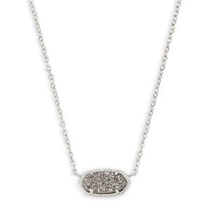 BN Kendra Scott Elisa Necklace Platinum Drusy Long